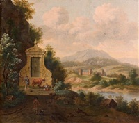 paysans près d'une fontaine dans un paysage fluvial by josua de grave