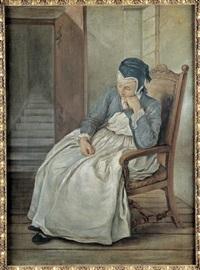 une servante assoupie by charles françois hutin