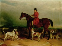 portrait of william phillips, of risca manor, monmouthshire, with his hounds by j. f. mullock