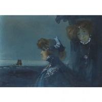 double portrait de sarah bernhardt et louise, abbema à belle-île en mer by ange jacques supparo