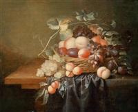 stillleben mit früchten in einem korb by laurens craen