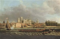 view of westminster from lambeth, with a royal barge in the foreground by samuel scott