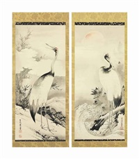 cranes with turtle and rising sun by shohaku