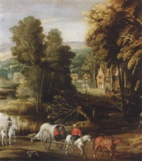 landscape with waggoners beside a river, with a village beyond by joos de momper the elder