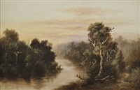 river scene with fisherman by william short sr.
