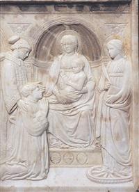 madonna con bambino in trono tra i santi lorenzo e caterina d'alessandria e il donatore, pier marino brancadori da fermo podestà di firenze by luca della robbia