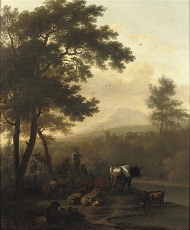 a wooded river landscape with a peasant couple and their cattle by dirk van bergen