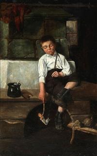 a boy lights his long pipe by christian pram henningsen