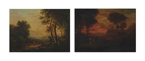 travellers in a wooded landscape classical figures in an arcadian landscape pair by gaspard dughet