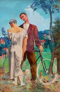 couple a la bicyclette by alfred courmes