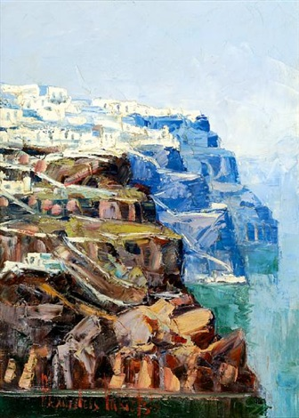 view of santorini by alexandros vakirtzis