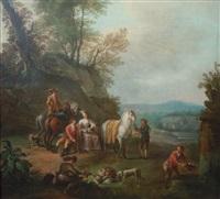 la halte pendant la chasse by carel van falens