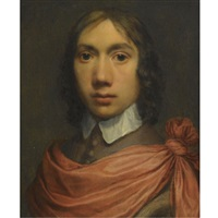 portrait of a young man, head and shoulders in a brown coat with a white collar and a red sash by jan de bray
