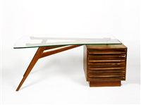 blackbean desk with curved plate glass top by schulim krimper