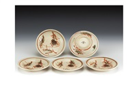 thistle-design middle size plates, five-pieces set by kenkichi tomimoto
