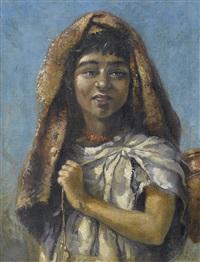 junge marokkanerin mit tonkrug by frank buchser