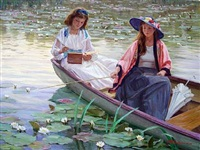 two girls in a rowboat by aleksandr averin