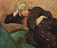 a female sitting model by carl fischer