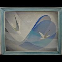 gulls on blue & white by albert angus macdonald