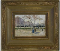 park scene, new york city by paul cornoyer