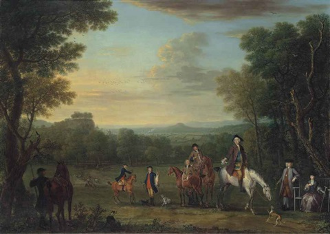thomas osborne 4th duke of leeds 1713 1789 on horseback with a hunting party in an extensive wooded landscape by john wootton