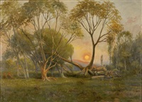 summer landscape at twilight by gustave weigand