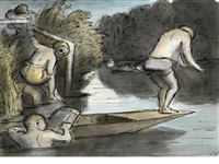 bathing on the thames by edward ardizzone