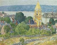 shingling the first baptist church, gloucester by childe hassam