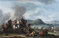 a cavalry battle between christians and turks, an extensive landscape beyond by dirk stoop