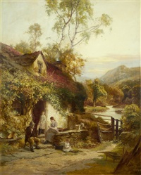 family by a cottage door by edward henry holder