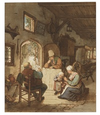 der zeitungsleser (after adriaen van ostade) by cornelis (jacob c.) ploos van amstel