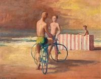 bicyclists, bondi by jeffrey smart