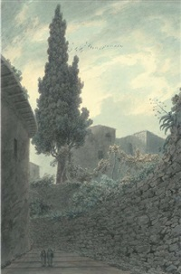 cypress in the garden of the franciscans at salerno, italy by john robert cozens