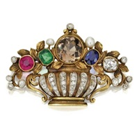 a flower basket brooch by f. walter lawrence