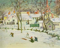 sledding, ipswich, massachusetts by theodore wendel