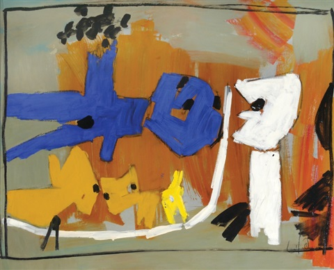 couple and dogs by pinchas litvinovsky