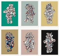 présences fugaces (set of 6) by jean dubuffet