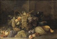 nature morte au panier de raisins, verre de vin, melons, figues et coupe chinoise by wouter mertens