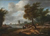 coup de vent avec un berger et son troupeau, le retour du chasseur avec une bergère près d'un fleuve (pair) by frans swagers