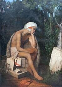 un jeune pâtre découvre un bas-relief antique sur le bord d'un ruisseau by eugène emmanuel amaury-duval (pineu)