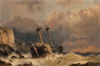 shipwreck near a rocky coastline by johannes hermanus koekkoek