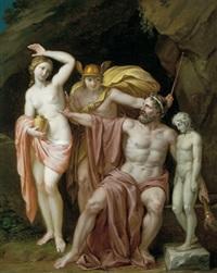 prometheus, merkur und die pandora by josef abel