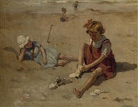 kinderen op het strand: children playing on the beach by louis soonius