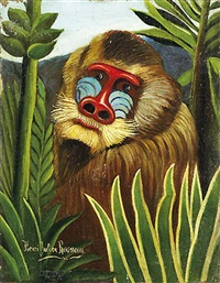 tête de mandrill dans la jungle by henri rousseau