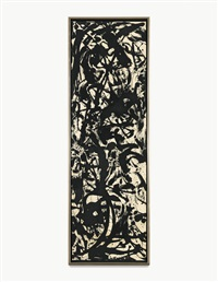 black and white painting by jackson pollock