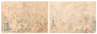 le triomphe de bacchus et le triomphe de flore (2 works) by louis-félix de la rue