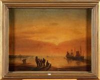 le retour des pêcheurs au crépuscule by jacques van gingelen