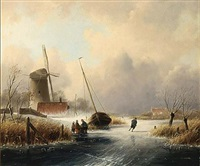 a winter landscape with figures on the ice by cornelis petrus t' hoen
