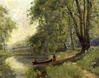 landscape with stream by albert jean adolphe