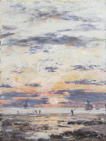 marée basse aux environs de sainte adresse soleil couchant by eugène boudin